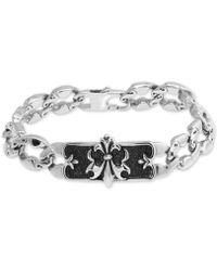 Macy's - Fleur-de-lis Plate Link Bracelet In Stainless Steel & Black Ion-plate - Lyst