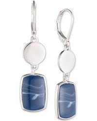 Nine West - Silver-tone Blue Stone Double Drop Earrings - Lyst