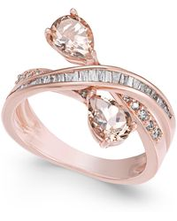 Macy's | Morganite (1-1/5 Ct. T.w.) And Diamond (3/8 Ct. T.w.) Crisscross Ring In 14k Rose Gold | Lyst