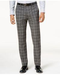 Sean John - Men's Slim-fit Gray Windowpane Pants - Lyst