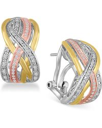 Macy's - Diamond Weave Tri-color Hoop Earrings (1/4 Ct. T.w.) In Sterling Silver And 14k Gold-plate - Lyst