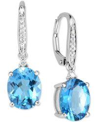 Macy's - Blue Topaz (5-1/2 Ct. T.w.) & Diamond Accent Drop Earrings In 14k White Gold - Lyst