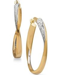 Macy's - Two-tone Twisted Hoop Earrings In 14k Gold With Rhodium-plate - Lyst