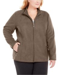 Karen Scott Plus Size Zip-front Jacket, Created For Macy's - Brown