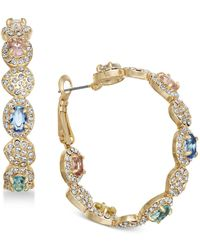 Joan Boyce - Gold-tone Multi-stone Scalloped Hoop Earrings - Lyst