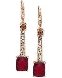 Anne Klein - Gold-tone Stone & Crystal Drop Earrings - Lyst