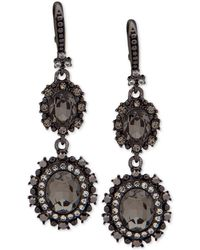 Marchesa - Hematite-tone Crystal Double Drop Earrings - Lyst