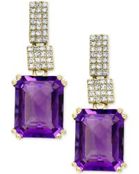 Effy Collection - Amethyst (5-1/3 Ct. T.w.) And Diamond (1/5 Ct. T.w.) Drop Earrings In 14k Gold - Lyst