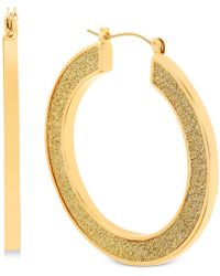 Steve Madden - Gold-tone Glitter Hoop Earrings - Lyst