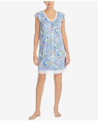 Ellen Tracy - Printed Chiffon-hem Short Nightgown - Lyst