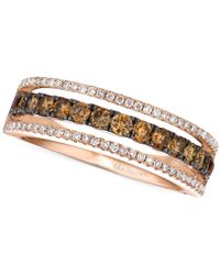 Le Vian - Chocolate And White Diamond Channel Band In 14k Rose Gold (5/8 Ct. T.w.) - Lyst