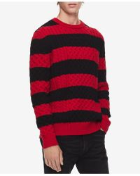 Calvin Klein - Striped Cable-knit Sweater - Lyst