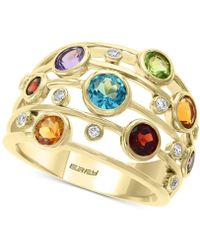 Effy Collection Effy® Multi-gemstone (2-5/8 Ct. T.w.) & Diamond (1/10 Ct. T.w.) Statement Ring In 14k Gold - Metallic