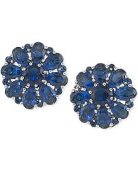 Carolee - Silver-tone Blue Crystal Cluster Clip-on Earrings - Lyst