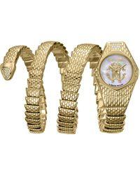 Roberto Cavalli - Diamond Swiss Quartz Gold-tone Stainless Steel Snake Wrap Bracelet, 23mm - Lyst