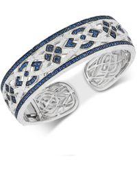 Macy's - Sapphire (3-1/8 Ct. T.w.) & Diamond (1/10 Ct. T.w.) Bangle Bracelet In Sterling Silver - Lyst