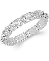 Charter Club | Silver-tone Crystal Baguette Stretch Bracelet | Lyst