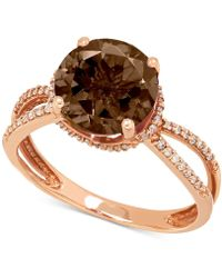 Macy's | Smoky Quartz (2-1/2 Ct. T.w.) And Diamond (1/6 Ct. T.w.) Ring In 14k Rose Gold | Lyst