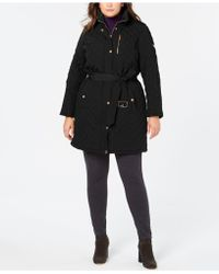 Michael Kors - Michael Plus Size Belted Quilted Hooded Coat - Lyst
