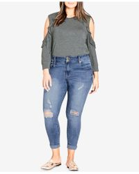 City Chic - Trendy Plus Size Ripped Skinny Jeans - Lyst