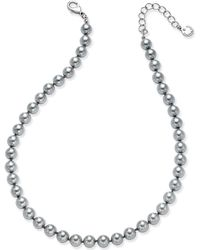 Charter Club - Silver-tone Cubic Zirconia & Gray Imitation Pearl Necklace - Lyst