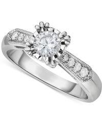 Macy's - Diamond Vintage-inspired Milgrain Engagement Ring (5/8 Ct. T.w.) In 14k White Gold - Lyst