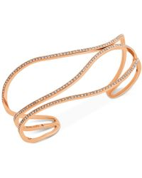 Michael Kors - Rose Gold-tone Pavé Open Bangle Bracelet - Lyst