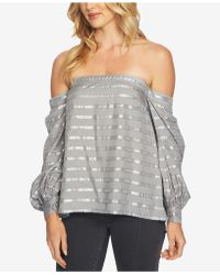 1.STATE - Metallic-stripe Off-the-shoulder Blouson-sleeve Blouse - Lyst