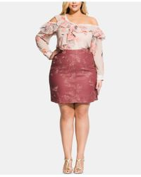 4c8e09a98fa City Chic - Sweetly Embroidered Skirt - Rose - Lyst