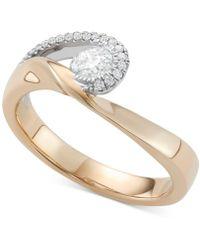 Macy's - Diamond Two-tone Swirl Ring (1/2 Ct. T.w.) In 14k Gold & White Gold - Lyst