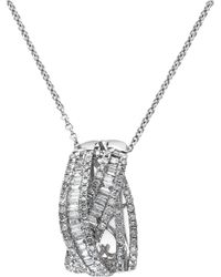 Effy Collection - Classique By Effy Diamond Crossover Pendant Necklace In 14k White Gold (3/4 Ct. T.w.) - Lyst