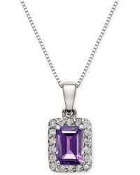 "Macy's - Amethyst (1 Ct. T.w.) & Diamond (1/6 Ct. T.w.) 18"" Pendant Necklace In 14k White Gold - Lyst"