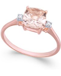 Macy's - Morganite (1-1/3 Ct. T.w.) & Diamond Accent Ring In 14k Rose Gold - Lyst
