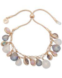 Anne Klein - Gold-tone Multi-stone Slider Bracelet - Lyst