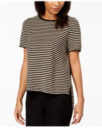 Eileen Fisher - Organic Linen Striped High-low Sweater - Lyst