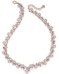 Charter Club - Rose Gold-tone Crystal & Pink Stone Collar Necklace - Lyst
