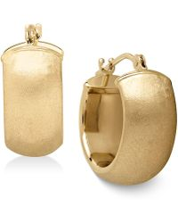 Macy's - Satin Huggie Hoop Earrings In 14k Gold - Lyst
