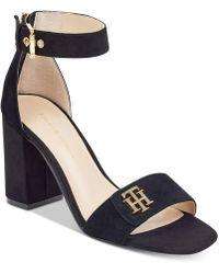 Tommy Hilfiger - Sheerah Two-piece Block-heel Sandals - Lyst