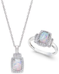 Macy's - Lab-created Opal (5/8 Ct. T.w.) And White Sapphire (5/8 Ct. T.w.) Pendant Necklace And Matching Ring Set In Sterling Silver - Lyst