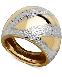 Macy's - Two-tone Dome Ring In 14k Gold & Rhodium-plate - Lyst