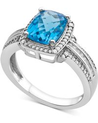 Macy's - Blue Topaz (2-1/3 Ct. T.w.) & Diamond (1/3 Ct. T.w.) Ring In 14k White Gold - Lyst
