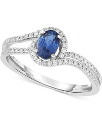 Macy's - Sapphire (5/8 Ct. T.w.) & Diamond (1/4 Ct. T.w.) Ring In 14k White Gold - Lyst