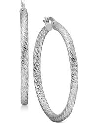 Macy's - Textured Round Hoop Earrings In Sterling Silver - Lyst