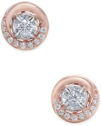 Macy's - Diamond Swirl Stud Earrings (1/4 Ct. T.w.) In 14k Rose Or White Gold - Lyst