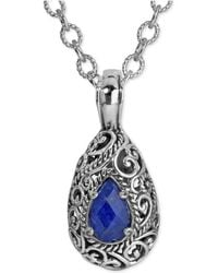 Carolyn Pollack - Lapis Lazuli Doublet Pendant Necklace (6 Ct. T.w.) In Sterling Silver - Lyst
