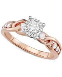 Macy's - Diamond Crossover Halo Engagement Ring (5/8 Ct. T.w.) In 14k Rose & White Gold - Lyst