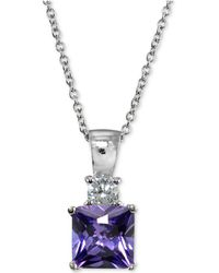 Giani Bernini | Cubic Zirconia Square Pendant Necklace In Sterling Silver | Lyst
