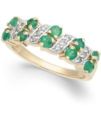 Macy's - Emerald (3/4 Ct. T.w.) & Diamond (1/8 Ct. T.w.) Ring In 14k Gold - Lyst