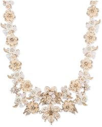 """Marchesa - Gold-tone Crystal Floral Collar Necklace, 16"""" + 3"""" Extender - Lyst"""