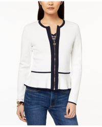 Tommy Hilfiger - Zip-front Peplum Sweater, Created For Macy's - Lyst